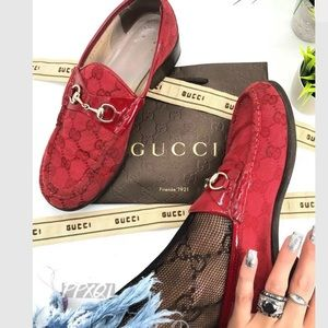 Gucci Auth. Vintage 90s GG Logo Horsebit Loafers